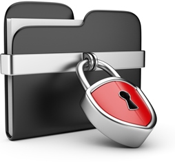 Data security concept. Black folder and lock. 3D isolated on white